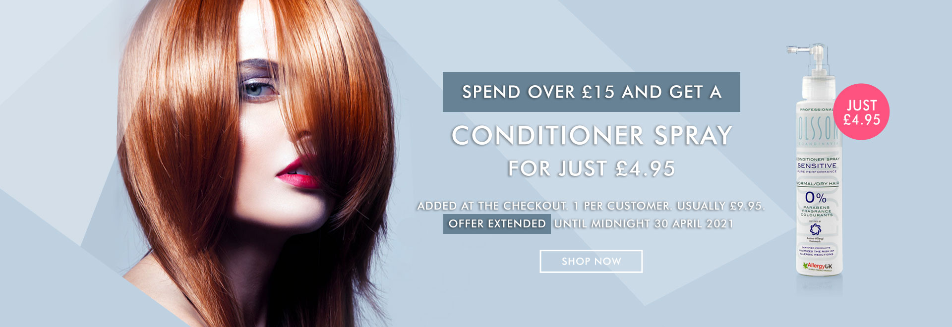 Free Delivery + Conditioner Spray for £5.95 on all orders.